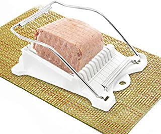 Luncheon Meat Slicer Yummy Sam Cheese Slicer Boiled Egg Slicer Fruit Slicer Soft Food Slicer Sushi Cutter Canned Meat Slicer with 10 Cutting Wire in Stainless Steel