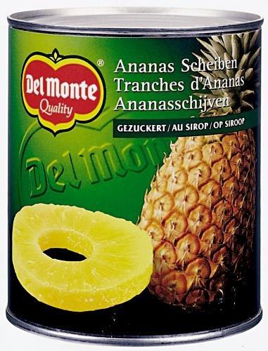 Del Monte Ananas Scheiben gezuckert , 3er Pack (3 x 850 ml Dose)