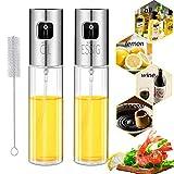 Pulverizador Aceite,Nifogo 100 ML Oil Sprayer Cocina Dispensador Oliva Aceite Vinagre Inoxidable Botella de Vidrio para Cocinar, con Cepillo de Tubo (Transparente-2pcs)
