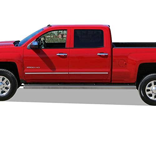APS Wheel to Wheel Running Boards 6in Custom Fit 2007-2018 Chevy Silverado GMC Sierra Crew Cab 6.5ft Bed & 2019 2500 HD 3500 HD (Exclude 07 Classic)(Include 19 1500 LD) (Nerf Bars Side Steps Side Bar)