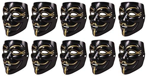 HAC24 10 Stück Set V wie Vendetta Maske Guy Fawkes Halloween Anonymous Maske Schwarz