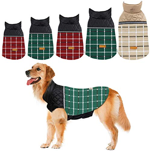 Dog Jacket Dog Coat for Winter Reversible Dog Down Jacket Dog Clothes S,M,L,XL,2XL Waterproof Windproof Cold Weather British Style Plaid Warm Dog Vest & Dog Sweater for Small Medium Large Dog Sweater