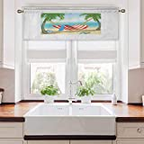 Aishare Store - Cortinas opacas cortas, hamaca entre palmeras en la playa, diseño de dibujos animados, composición digital, 106,7 cm de ancho x 45,7 cm de largo, cortina opaca para cocina, multicolor