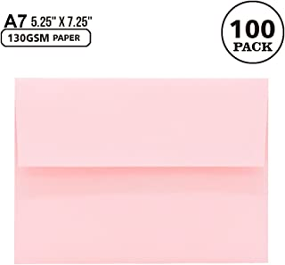 100 Pack A7 Pink Invitation 5x7 Envelopes - Self Seal, Square Flap,Perfect for Baby Shower, 5x7 Cards, Weddings, Birthday, Invitations, Graduation, 5.25 x 7.25 Inches (Pink)