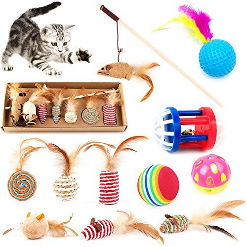 HEPAZ Giochi con Piume per Gatto,Giocattoli per Gatti,Contiene Un Divertente Bastoncino per Gatti,6 ricariche e Altri Giocattolo per Gatti,Giocattoli per Animali Domestici ecologici,innocui e sicuri