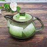 洗いやすい茶こし網付 九谷焼 ポット 急須 銀彩(緑) 陶器 和食器 茶器 日本製
