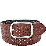 Relic by Fossil Women's Reversible Floral Perforated Belt, black/brown, Small