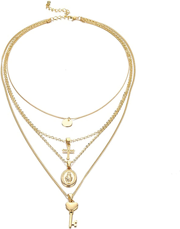 Vintage Cross Key Virgin Mary Pendant Necklace For Women Multi-Layer Bohemian Gold Geometric Choker Collar Necklace Jewelry