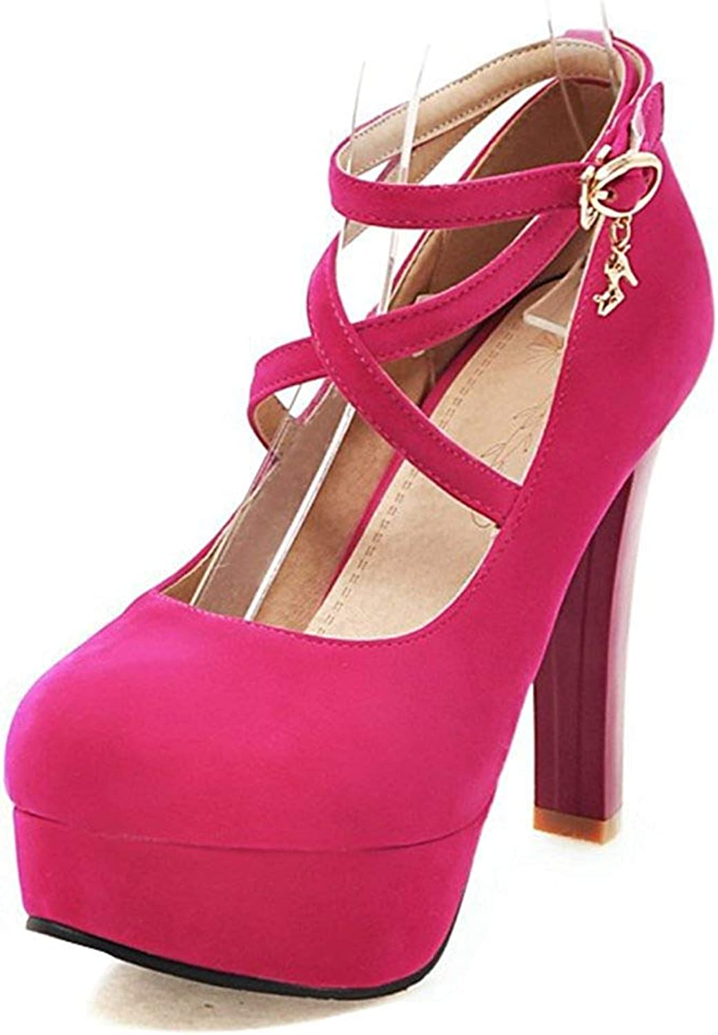 Unm Women's Fashion Buckled Dressy Strappy Round Toe High Chunky Heel Platform Pumps shoes with Ankle Strap
