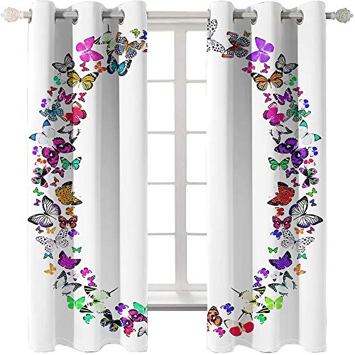 3D Printed Blackout Curtainsdigital Printing Shade Eyelet Vertical Curtains,White Butterfly Garland Stylish Perforated Breathable Insulation Curtains,For Living Room Bedroom Kid Room-150X166cm(W*H)