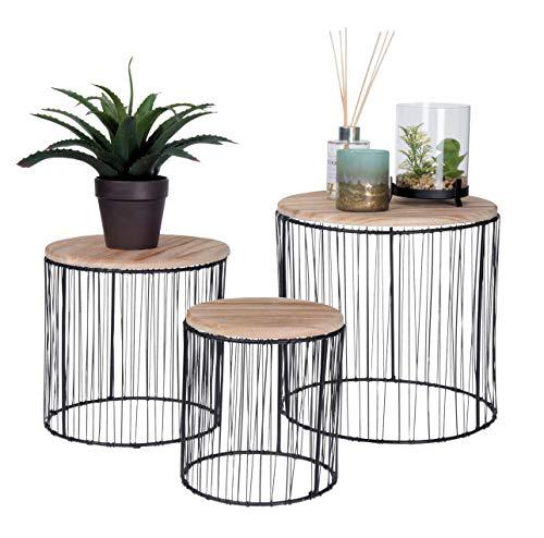 Pflanzenständer 3er Set - Deko Blumenhocker Blumenständer Pflanzenhocker Blumentopfständer Beistelltisch rund