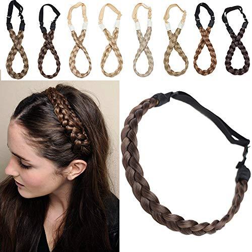SEGO Ruban Tressé Serre-Têtes Accessoire Headband Cheveux Femme Élastique [3 Brins Largeur: 1.5cm] Postiche Synthetique Bandeau Pièce Stretch Twist Fibres Flexible