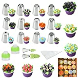 Russian Piping Tips 26 pcs-14 icing Nozzel (2 leaf Tips)+10 Baking Pastry Bags+2 Couplers Frosting Tips Set (26 pcs)