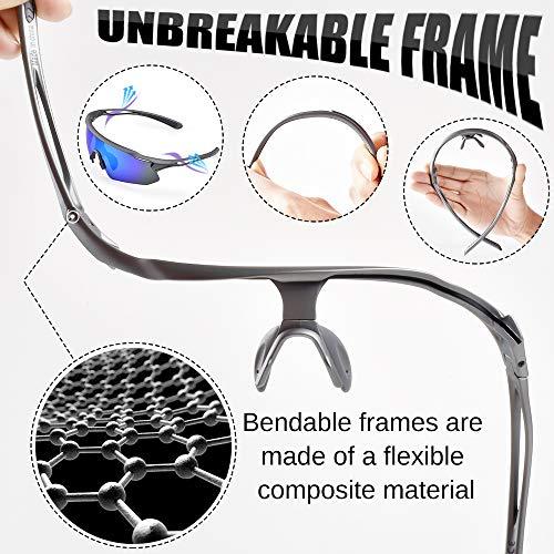 Snowledge Sportbrille Fahrradbrille Herren und Damen Sonnenbrille Erwachsene Sport Radbrille Polarisiert Windschutz Brille Motorradbrille Rahmen TR90 UV400 Schutz - 4