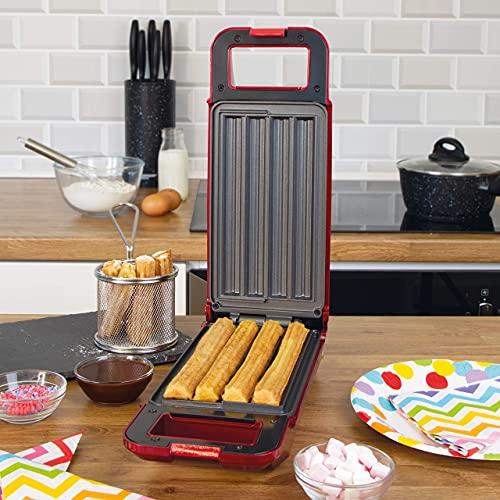Global Gizmos 35529 Máquina para hacer churros de 700 W, bolsa pastelera incluida, sistema giratorio de 180 ° con control termostático para hornear perfectamente, hornear 4 churros a la vez