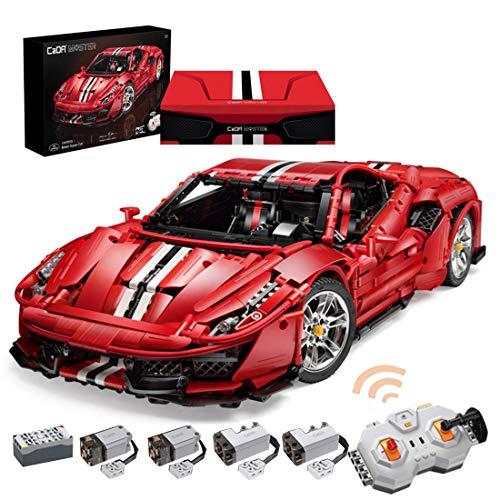 Tecnología coche deportivo para Ferrari 488 Pista, 3187 bloques de terminales 1: 8 supercar con motores de control remoto y conjunto de luces LED