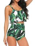 ADOME Swimsuits for Women Bikini Swimsuit 2 PCs High Waist Floral Swimwear with Tummy Control Green, L