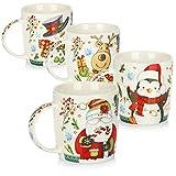 COM-FOUR® Taza de café 4x de porcelana - Taza de café para Navidad con motivos...