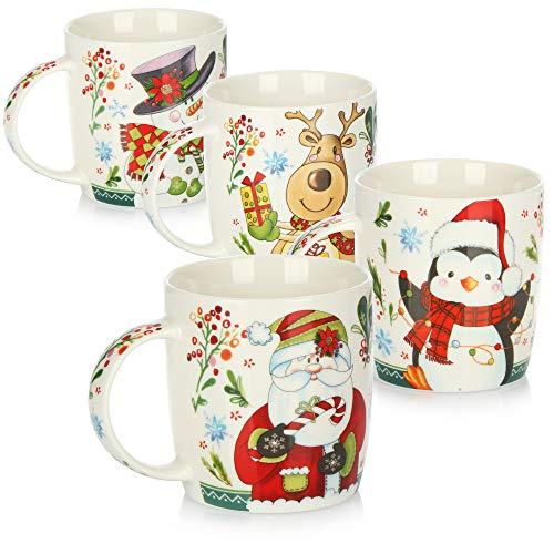 com-four® 4x Kaffeebecher aus Porzellan - Kaffee-Tasse für Weihnachten mit bunten Motiven - Kaffeepott für Kalt- und Heißgetränke - 370 ml