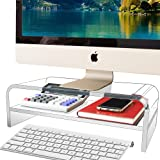 Acrylic Monitor Stand 2 Tier, TINOMAR Computer Monitor Stand Riser for iMac, PC, Desktop, Laptop, TV Screen, Printer with Sturdy Platform, Transparent Ergonomic Monitor Stand for Home and Office