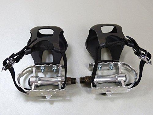 Retro Rennfahrrad Pedale mit Pedalhaken schlicht (Kunststoff Pedalhaken mit einfachem Nylon-Riemen)