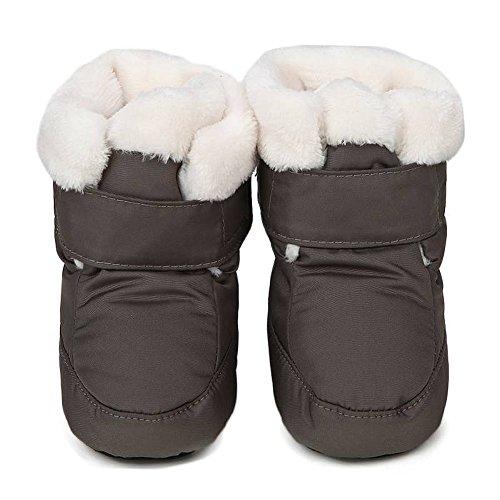 Oderola Unisex Baby Krabbelschuhe Winddicht und wasserdicht Winterstiefel mit Warmfutter Lauflernschuhe ruschfeste Sohle Babyschuhe