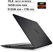 Dell Newest Inspiron 15 5000 15.6-Inch FHD 1080P Laptop, AMD Ryzen 5 2500U up to 3.6 GHz, AMD Radeon Vega8, 16GB DDR4 RAM, 512GB SSD (Boot) + 1TB HDD, USB, HDMI, WiFi, Bluetooth, Windows 10 Home