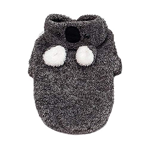 BulzEU- Mooie huisdier hond hoodie harige jas trui winter warme kleren met oren - Koala stijl honden Jumpsuit Puppy Fancy jurk kerst kostuums voor kleine middelgrote honden, S, Zwart