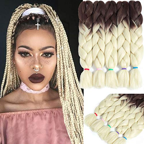 Liyate Jumbo Braid Hair 24 Inch Ombre Braiding Hair Twist Crochet Box Braids Ombre Synthetic Hair Extensions Two Tone Brown Blonde 5 Pcs/Lot for Full Head for Women Lady Girl (31#)