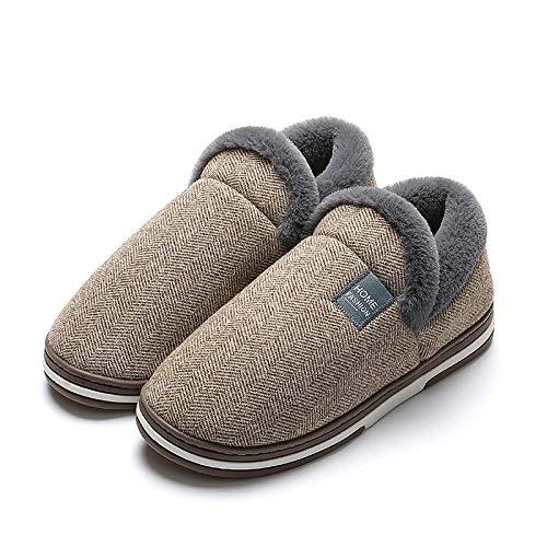 Zapatillas de algodón unisex cómodas, para invierno, para hombre y mujer, de espuma viscoelástica, cálidas con tacón cerrado, suela de goma antideslizante, café_41-42