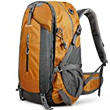 OutdoorMaster Hiking Backpack 50L - Weekend Pack w/Waterproof Rain Cover & Laptop Compartment - for Camping, Travel, Hiking (Orange/Grey)