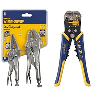 IRWIN VISE-GRIP Original Locking Pliers with Wire Cutter Set and Self-Adjusting Wire Stripper