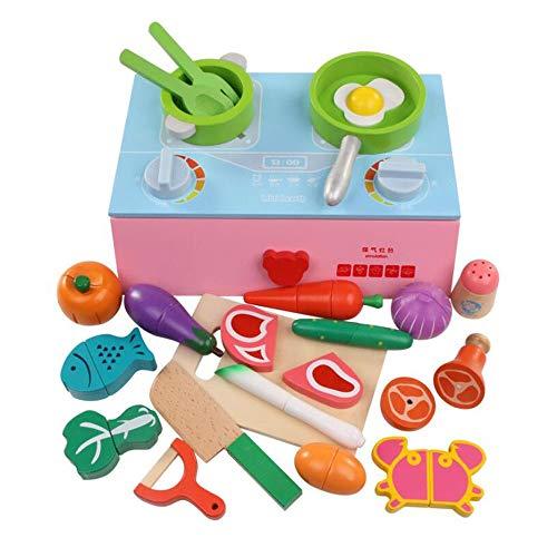 HSCW Juego de madera Cocina Cocina Juguete Simulación Cocina Gas Rango Establecer Alimentos de Corte Juguetes Magnéticos Alimentos Juguetes Educativos Color Percepción Juguetes Regalos de cumpleaños p