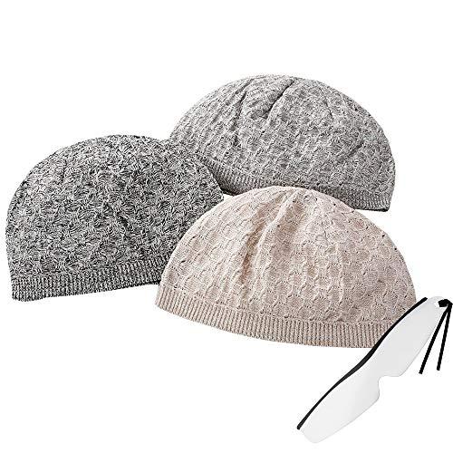 涼しい美濃和紙 日本製イスラムワッチ(イスラムキャップ 夏 帽子 ニット帽 薄手 春夏用 メンズ&レディース兼用)NM-0006 しおり型ルーペ付