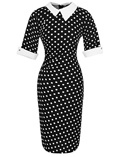 Naive Shine Women's 1/2 Sleeve Peter Pan Collar Retro Bodycon Pencil Formal Office Dress