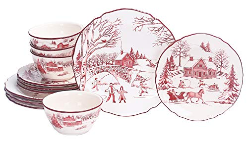 Bico Toile de Jouy Winter Wonderland Ceramics 12pcs Dinnerware Set, Service for 4, Inclusive of 11 inch Dinner Plates, 8.75 inch Salad Plates and 25oz Bowls, for Party, Microwave & Dishwasher Safe