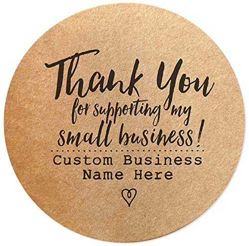 """Custom Thank You for Supporting My Small Business Stickers - 1.5"""" Round Brown Kraft Paper Labels for Sealing and Packaging - Set of 60 - Personalized / Customized with Business Name : PaperColorful"""