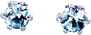[KASHIMA]KASHIMA 【プラチナ】Pt900 0.1ct 1粒アクアマリンピアス
