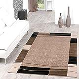 Teppich Günstig Bordüre Design Modern Wohnzimmerteppich Beige Schwarz Top Preis, Größe:80x150 cm