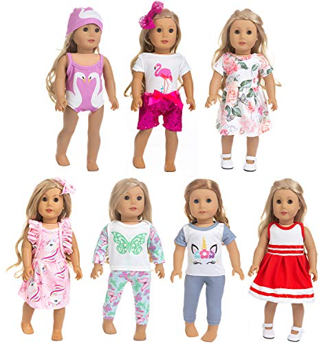 ZQDOLL 18 inch Doll Clothes and Accessories,7 Outfits , Fits American 18 inch Girl Dolls,Girl Birthday Gifts
