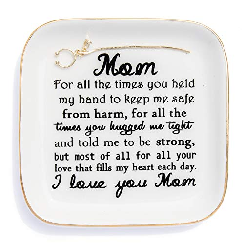 """PUDDING CABIN Gift for Mom """"I Love You Mom"""" Mom Gift, Ring Dish for Mother's Day Birthday from Daughter/Son,Thank You for Mom Gifts Unique Mom Trinket Dish"""