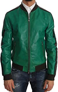 Green Leather 84 Motive Bomber Jacket