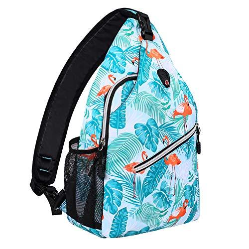 MOSISO Seil Brusttasche Sling Rucksack Schultertasche (Bis zu 13 Zoll), Polyester Crossbody Umhängetasche Reise Wandern Daypack für Männer Frauen Mädchen Jungen, Flamingo