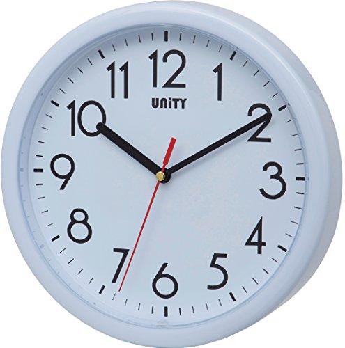 Unity Hastings- Reloj de Pared, silencioso, Moderno, 22 cm, plástico, Blanco, 22 x 22 x 5 cm