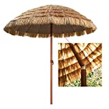 YYQ SHOP Wasserdicht Gartenschirm Sonnenschirm Ø180cm Rund Hawaii Strohschirm Raffia Marktschirm für Balkon Patio Restaurant,Sonnenschutz UV50+ Höhenverstellbarer