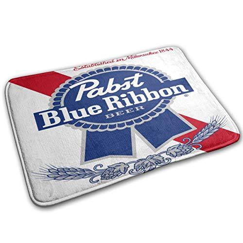 Pabst Blue Ribbon Beer Logo Doormat Non-Slip Welcome Mat Rug Bath Mat Entrance Carpet Front Door Bathroom Indoor Outdoors Floor Mat