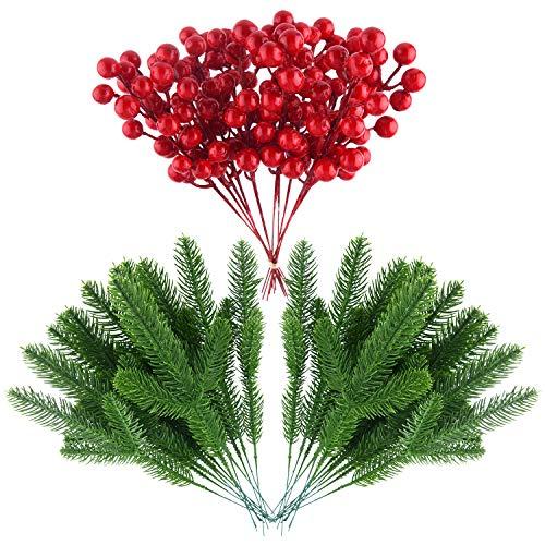 CHRORINE 40 Piezas de Hojas de Pino Artificiales y Bayas Rojas Artificiales para decoración del hogar, decoración de Corona de Navidad