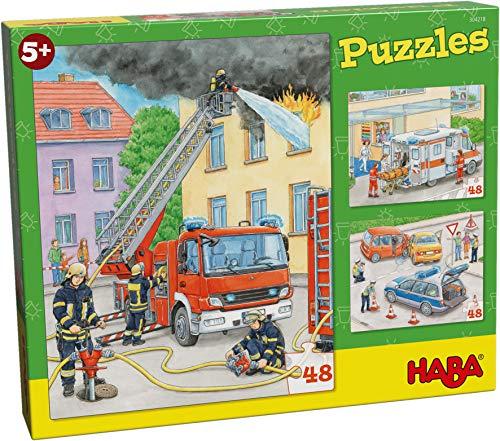 HABA 304218 - Puzzles Einsatzfahrzeuge, 3 Puzzles mit je 48 Teilen, 3 Motive mit Feuerwehr, Rettung und Polizei, Puzzlespaß ab 5 Jahren
