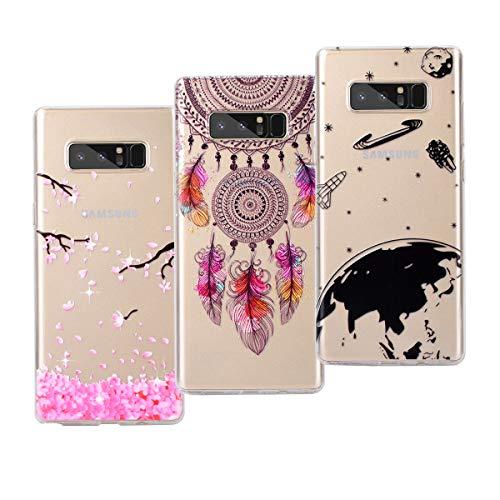VemMore Kompatibel für Samsung Galaxy Note 8 Hülle Silikon Transparent Durchsichtig Handyhülle Ultra Dünn Schutzhülle TPU Slim Kratzfest mit Muster [3 Packs] - Universum + Pfirsichblüte + Windspiel