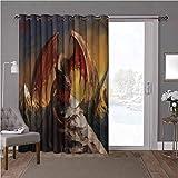 YUAZHOQI - Cortina térmica para puerta corredera, dragón, bestia voladora en montañas, 100 x 108 pulgadas, protección de privacidad para sala de estar (1 panel)